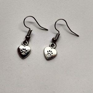 5/$20 Cute CAT PAW love I heart my cat earrings